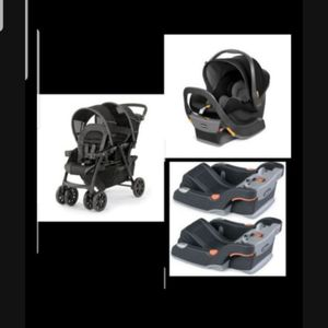 Full twin setup - Chicco double stroller + 2 carseat bases + 2 chicco keyfit carseats for Sale in Chandler, AZ