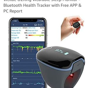 Wellue O2Ring Wearable Sleep Monitor - Bluetooth Health Tracker with Free APP & PC Report for Sale in Rialto, CA