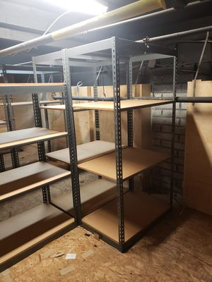 Shelving units with metal frame and wood shelf all different depths and heights for Sale in Lake Forest, CA