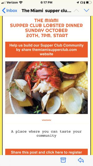Lobster dinner October 20th 7pm RSVP @ themiamisupper {url removed} for Sale in Miami Beach, FL