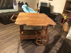 Antique table with glass and sides come down for Sale in Festus, MO