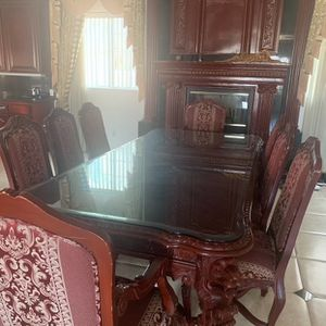 8 Piece Long Dining Room Table With Custom Glass for Sale in Jamul, CA