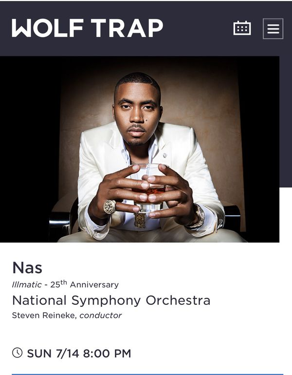 2 Tickets - Nas Illmatic 25th Anniversary Concert at Wolf Trap
