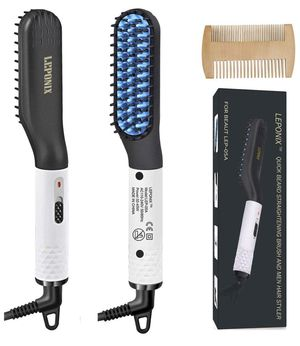 Beard Straightener, Men Hair Straightener Heated Beard Brush with Wood Comb Straightening Hot Comb with Dual Voltage Great Gifts for Men and Great fo for Sale in Winter Garden, FL
