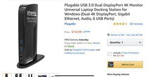 Plugable USB 3.0 DUAL DisplayPort 4k monitor Universal Doc station (window) for Sale in San Jose, CA