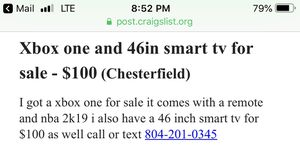 Xbox one and 46in smart for sale for Sale in Richmond, VA