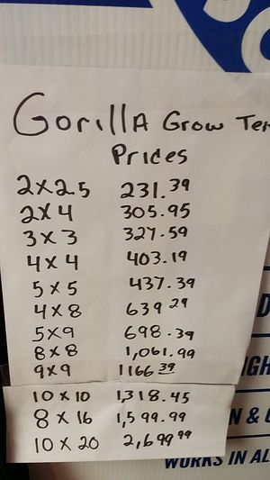 Gorilla grow tents Prices, sale 10% off this week -Text me if you don't understand the price sheet in the picture posted for Sale in Tarpon Springs, FL