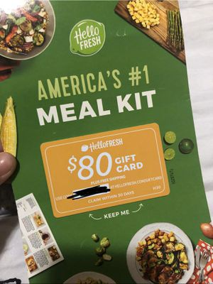 Coupons need Fabletics and Hello Fresh $80 off and free shipping + $30 off $100 leggings and food recipe websites for Sale in Vancouver, WA