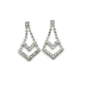 Vintage Drop Dangle Art Deco Rhinestone Earrings Silver Tone Faux Diamonds for Sale in Temecula, CA
