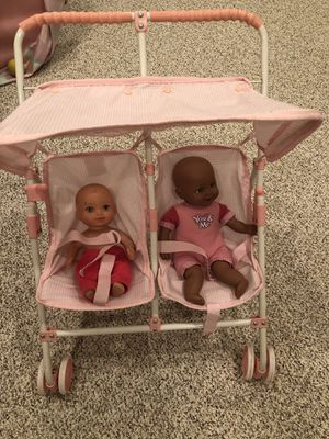 Kids play double stroller and dolls for Sale in Bowie, MD