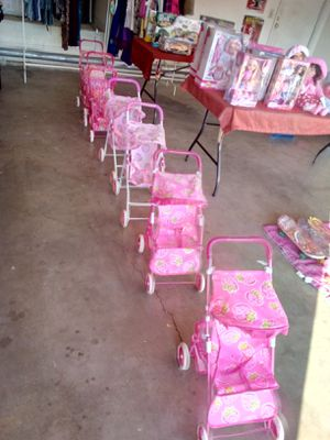 Small stroller $10 medium stroller 15 and double strollers 20 add a doll and get a deal for Sale in Palmdale, CA