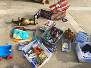 Pokemon cards, kite, nerf guns, train set, kids toys for Sale in Huntington Beach, CA