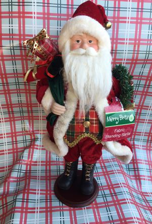 Christmas fabric standing santa for Sale in Baldwin Park, CA