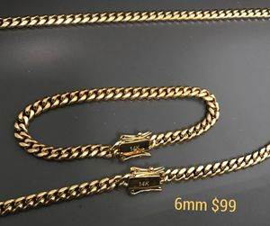 MIAMI CUBAN LINK MENS CHAIN 2 PIECE SET CHAIN & BRACELET 💯WILL NOT FADE OR TARNISH 🚗DELIVERIES for Sale in Brooklyn, NY