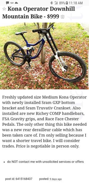 Kona Operator Downhill Mountain Bike-$999 for Sale in Hanover Park, IL