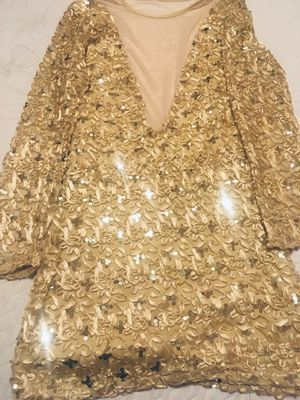 Gold sequin and ribbon cocktail dress with see thru mesh Size S for Sale in Orange, TX