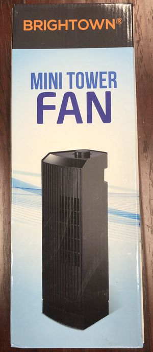 "14"" Oscillating Mini Tower Desk Fan - 6 Settings - Black - All Brand New in the Box for Sale in Rosemead, CA"