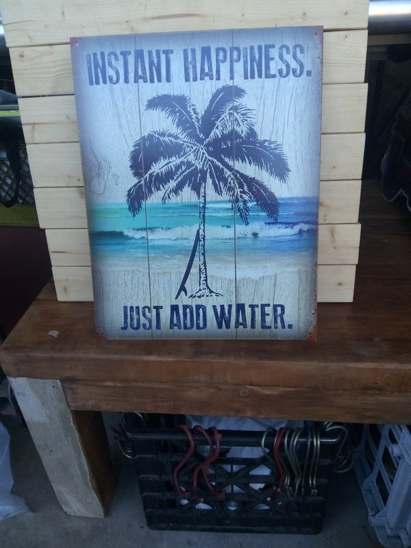 Instant Happiness Beach Tin Sign 12 x15 inches