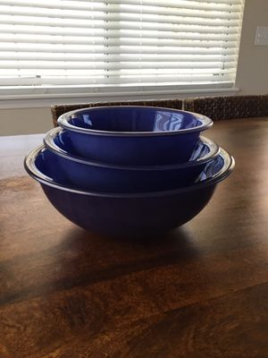 Blue Pyrex Vintage Nesting Bowls Clear Bottom for Sale in Horseshoe Beach, FL