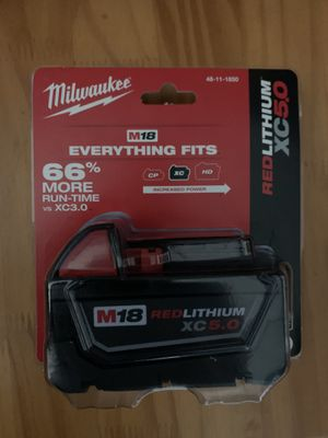 NEW M18 MILWAUKEE 5.0 BATTERY for Sale in Bristow, VA