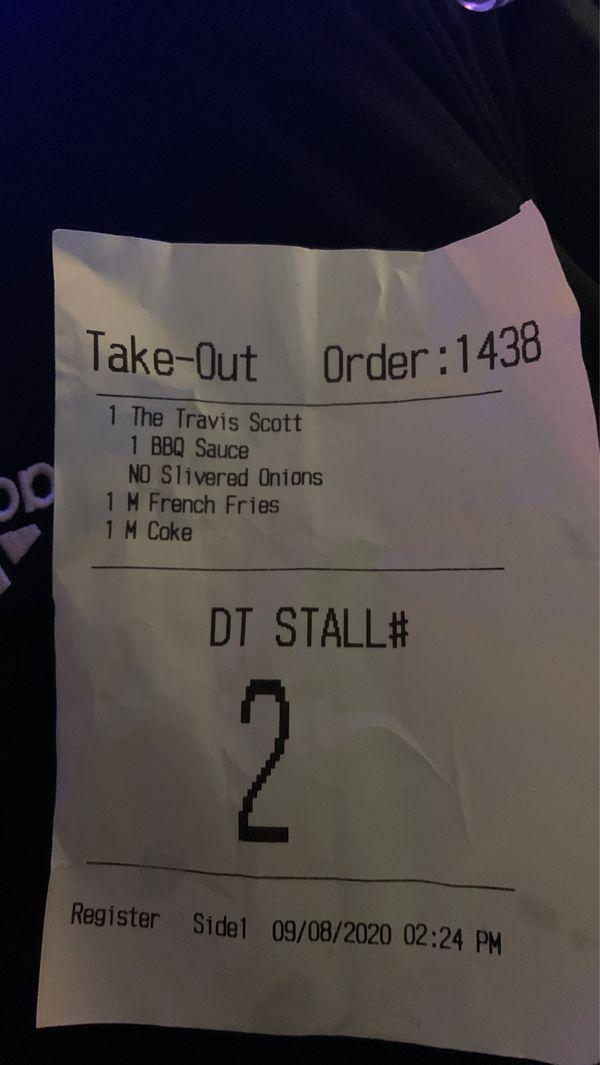Travis Scott's meal
