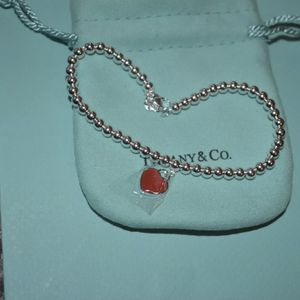 Tiffany & Co Mini Heart Tag Bead Ball Bracelet Silver Red Enamel for Sale in Nashville, TN