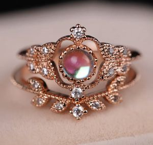 Rose gold plated moonstone ring set for Sale in Algonquin, IL