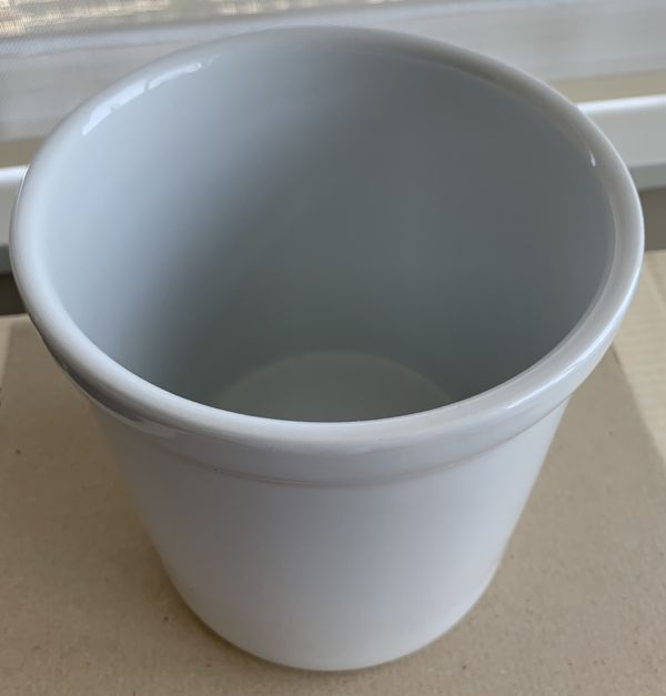 White ceramic utility crock jar