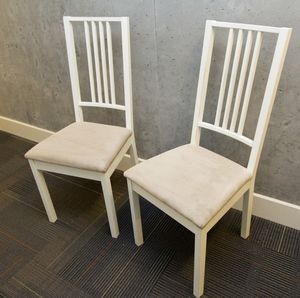 Pair of white wood chairs with tan microfiber seats for Sale in San Francisco, CA