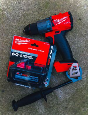 "New Milwaukee M18 FUEL Brushless 1/2"" Hammer Drill 3rd GEN & High Output 8.0 Battery for Sale in Modesto, CA"