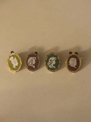 Disney Princess Silhouette Frame Pins (Ariel, Tiana, Snow White and Aurora) for Sale in Davenport, FL