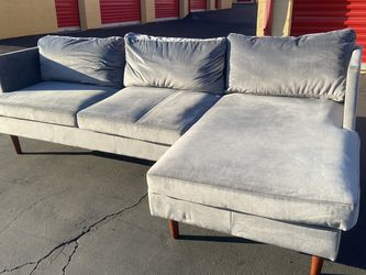 Grey Velvet L-shaped Couch Good Condition Slight Wear for Sale in Brea,  CA