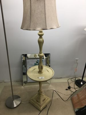 Classic wood collection-French cream wooden floor lamp W/tray for Sale in Burlington, MA