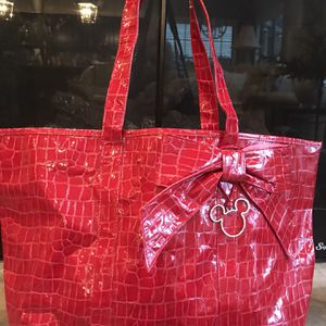 "❤️DISNEYLAND RESORTS Mickey Tote - Red Vinyl 13""T, 19""W - Great for Valentine's Day! for Sale in Lexington, KY"