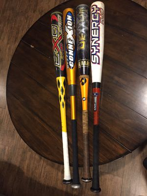 Baseball Bats- TPX Exo Grind -$40, Easton Synergy+ $65, Easton Sc777 Connexion $15, DeMarini Vexxum $25 for Sale in Tampa, FL