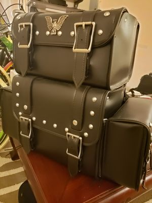 Black leather motorcyle bags for Sale in Warrenton, VA