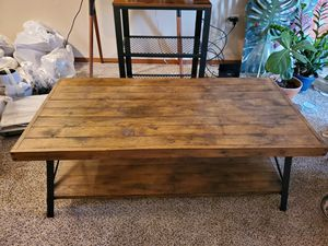 Emerald Home Chandler Rustic Industrial Solid Wood and Steel Coffee Table with Open Shel for Sale in Shoreline, WA