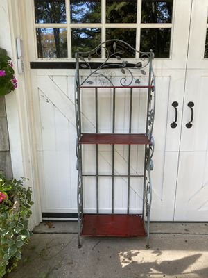 Vintage Metal Collapsible Patina / Red Bakers Rack for Sale in Princeton, NJ