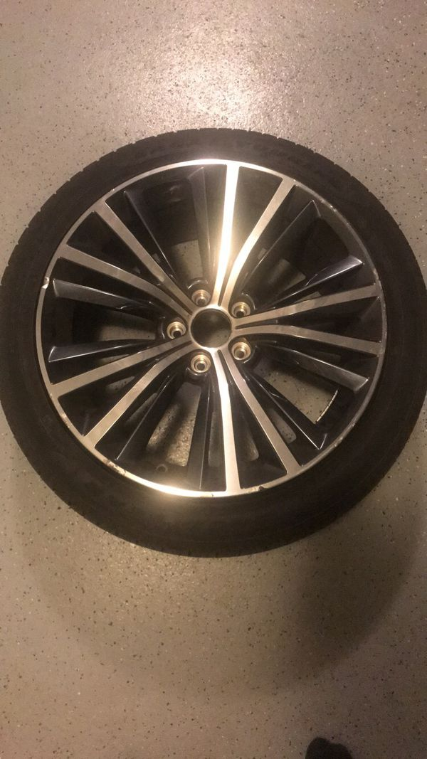 """2018 Infinti Q60 3.0t 19"""" Tires and Wheels with infinity logo and screws"""