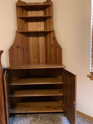 Wood corner cabinet with display unit for Sale in Duvall, WA