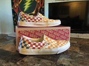 Checkerboard multi/true limited edition size 9.0 slip-on vans for Sale in Springfield, OR
