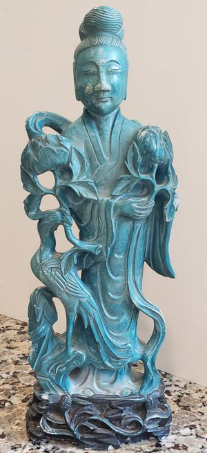 Turquoise Asian Statue Fine Asian Collectable Goddess of Compassion for Sale in Naples, FL
