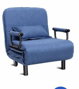 Convertible Sofa Bed Folding Blue Arm Chair Sleeper Leisure Recliner Lounge Couch New for Sale in Hacienda Heights, CA