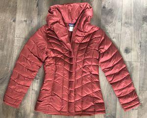 Women's Patagonia Goose Down Puffer Coat Small Red Maroon Hood for Sale in Santa Clarita, CA