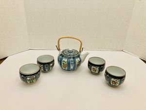 Vintage Japanese Porcelain Tea Pot Woven Handle with 4 Tea Cups for Sale in Spring Hill, FL