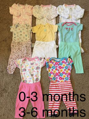Baby girl clothes/short sleeve onesies, pants, pajamas size 0-6 months for Sale in Sumner, WA
