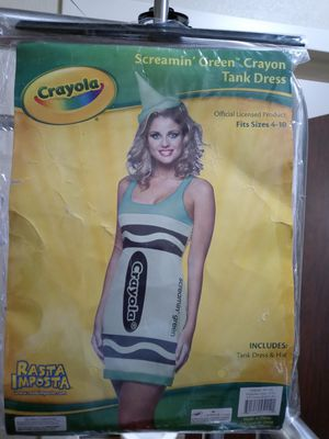 BRAND NEW WOMEN'S SCREAMIN GREEN CRAYOLA CRAYON HALLOWEEN COSTUME WITH HAT. for Sale in Columbus, OH