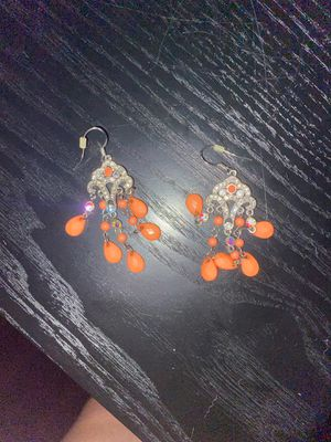 Silver and coral earrings for Sale in Aurora, IL