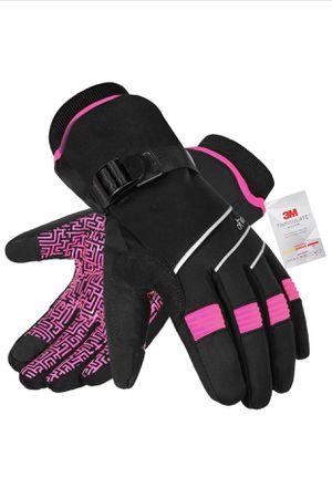 Ski Gloves Waterproof Winter Gloves. Size M color Pink&black for Sale in Hialeah Gardens, FL