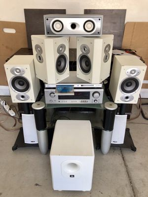 DENON / Polk Audio Complete Dolby Digital Home Theater System w/ Bluetooth adapter & DVD/CD/CDMp3 Player for Sale in Phoenix, AZ